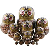 Winterworm Set of 15 Pieces Cartoon Brown Owl Russian Handmade Wooden Nesting Dolls Matryoshka Dolls for Birthday Christmas New Year Gift Home Decoration Kids Toy