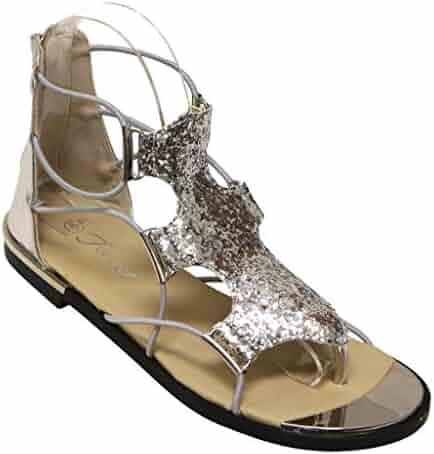 0cfc7e94b7ca0 Forever Rosie-30 Women s Glitter Gold Trim Stripes Zip Closure Metallic  Flat Sandals Silver 6