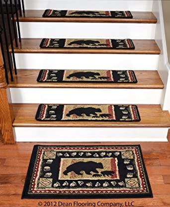 "Dean Premium Carpet Stair Treads - Black Bear Cabin 31"" x 9"" (Set of 13)  Plus a Matching Landing Mat"