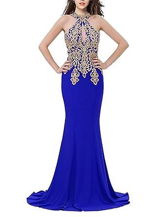 Baijinbai Elegant Womens Long Halter Neck Prom Dresses Evening Bridesmaid Dresses Royal Blue UK14