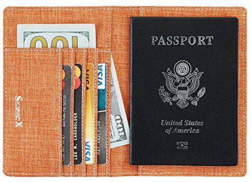 SimpacX Fabric Passport Holder Wallet Cover Case RFID Blocking Travel Wallet (orange)