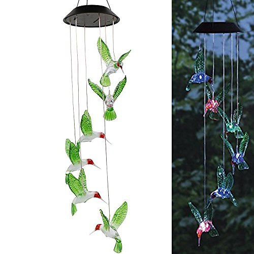 Solar Powered Wind Chime, HoGadget Solar LED Operated Wind Spinner Color Changing Lamp Mobile For Home Outdoor Garden Yard Decoration (humming bird)