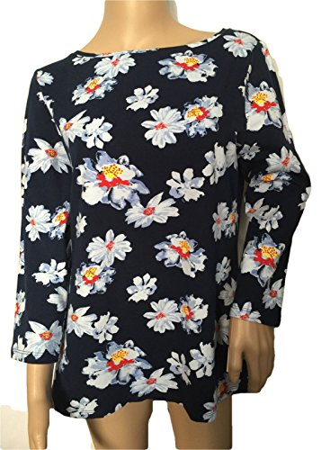 talbots-floral-tee-top-shirt-size-l-10-12