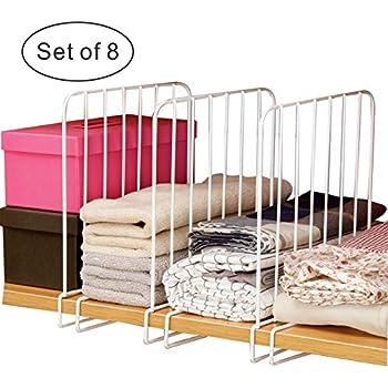 Office Shelf DOIOWN Shelf Dividers for Closet 8Pcs Wood Shelf Divider Separator Organizer for Closet 8 Pack-Black Library Shelf