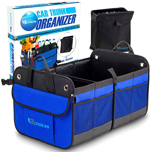 B-Choices Expandable Storage Cargo Organizer for Autos, Cars, and Trucks plus Trash Bin: Heavy Duty Collapsible Construction and Sturdy Non-Slip Base