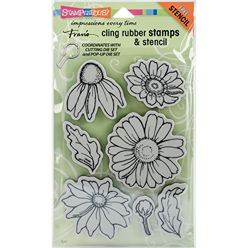 Stampendous CRS5082 Cling Stamps & Stencil Set-Daisy -