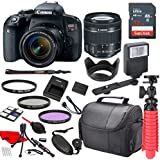 Canon EOS Rebel T7i Digital SLR Camera with Canon EF-S 18-55mm IS STM Lens, Sandisk 32GB SDHC Memory Card (25pc Bundle)