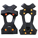 KISPAHN TREX 6300 Traction Cleat Grips Ice and Snow, One-Piece Easily Attaches Over Shoe/Boot with Carbon Steel Spikes to Provide Anti-Slip Solution, X-Large