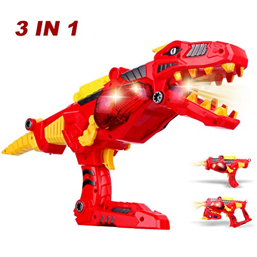 AOKESI Dinosaur Toy Gun, [3 in 1 ] Transformer Toys w/ Lights & Sounds Construction Kit, Dinoblaster Transforming Dinosaur Gun Build & Take Apart Toy Tyrannosaurus Rex Dinosaur Toy for Boys, Girls