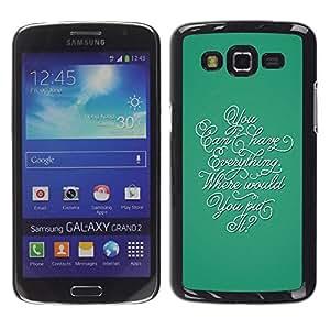 Caucho caso de Shell duro de la cubierta de accesorios de protección BY RAYDREAMMM - Samsung Galaxy Grand 2 SM-G7102 SM-G7105 - Calligraphy Everything Teal Thought Inspiring