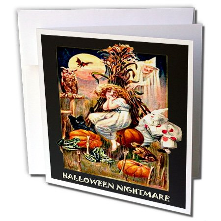 3dRose Greeting Cards, Vintage Halloween Nightmare, Set of 6 (gc_6038_1)