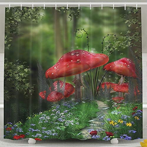 Water-Repellent Shower Curtain Roadside Red Poisonous Mushroom Shower Curtain 100% Polyester Fabric 71