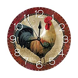 FeHuew Vintage Rooster Cock Decorative Wall Clock 9.5 Inch Non Ticking Battery Operated for Student Office School Home Decor Round Silent Desk Clock Art