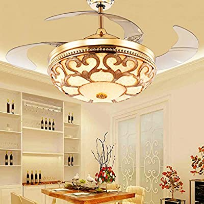 Huston Fan Modern Style Retractable Blade Ceiling Fan With Remote Control,42 Inch Ceiling Fan For Living Room,Bedroom-Gold