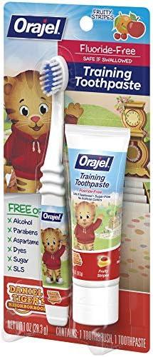 51g1azsjI2L. AC - Orajel Daniel Tiger's Neighborhood Fluoride-Free Training Toothpaste & Toothbrush Combo Pack, Fruity Stripes, 1.0oz