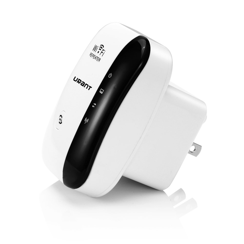 URANT WiFi Extender WiFi Repeater Wireless Network Long Range Extender Signal Amplifier Booster Network Adapter Repeater/Access Piont Mode Comply with 802.11 b/g/n with WPS Button (US Plug) - White