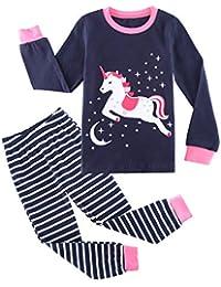 Girls Cotton Longsleeve Pajamas Cartoon Print Sleepwear Sets