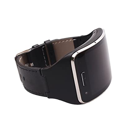 Yavive - Samsung Gear S Leather with Silicon Band/Leather Replacement Bracelet Wristband for Gear S Sm-r750 (Black)