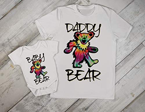 (Grateful Dead Daddy Dad and Baby Matching Set Onesie Tshirt Papa Son Daughter Hippie Fathers Day Gift)