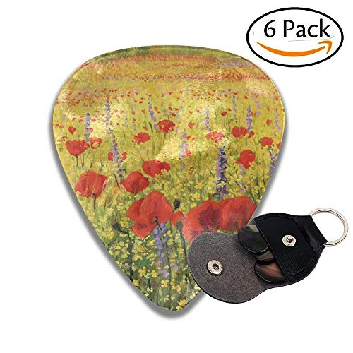 Guitar Picks A Colorful Field With Poppies Yellow Flowers And Lavendar Farmland Hills Scenery Colorful Celluloid Guitar Picks Plectrums For Guitar Bass .46mm 6 Pack
