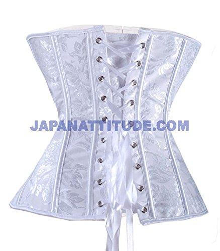 Corset, diseño de flores, color blanco blanco