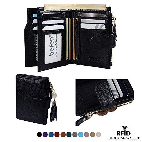 Purse Black Ladies Small Wallets - Befen Women's RFID Blocking Luxury Full Grain Genuine Leather Bifold Trifold Wallet Multi Card Organizer Holders for Ladies (Black RFID Wallet Small)