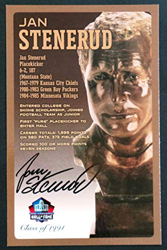 (PRO FOOTBALL HALL OF FAME Jan Stenerud Signed Bronze Bust Set Autographed Card with COA (Limited Edition #93 of 150))