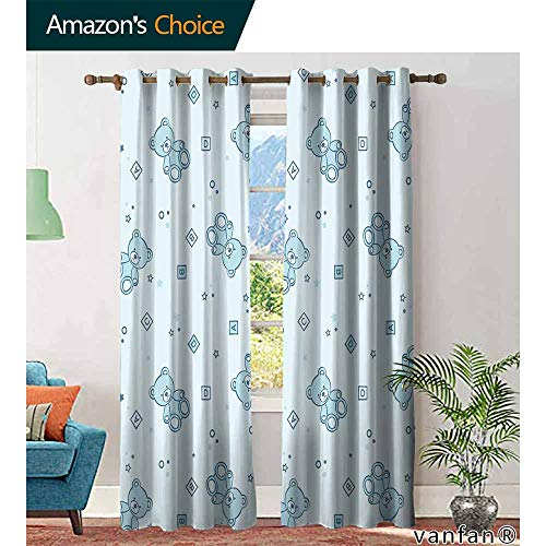 Big datastore Nursery backout Curtains for bedroomTeddy Bears and Toys with Letters on Children Imagery Baby Blue Background Childrens Living Room Bedroom W72 x L108 Baby Blue Aqua