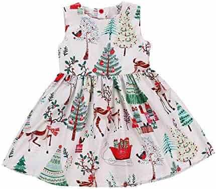 4b74e29c89e4 Baby Girls Christmas Dress Toddler Kids Sleeveless Cartoon Print Dress  Clothes