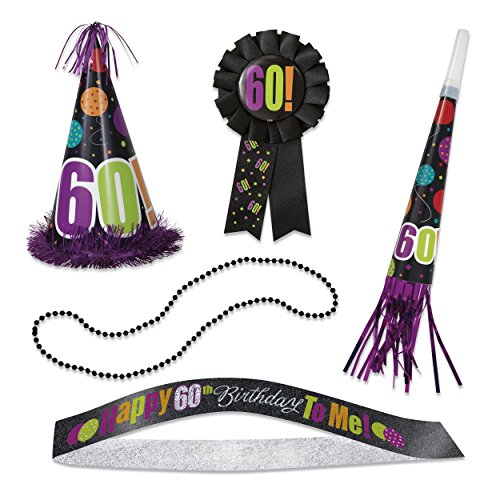 Birthday Cheer 60th Birthday Party Accessories Kit, -
