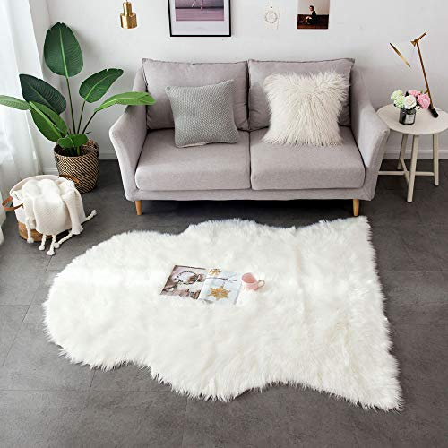 Ojia Deluxe Soft Faux Sheepskin Chair Cover Seat Pad Plain Shaggy Area Rugs for Bedroom Sofa Floor (5ft x 6ft, Ivory White)