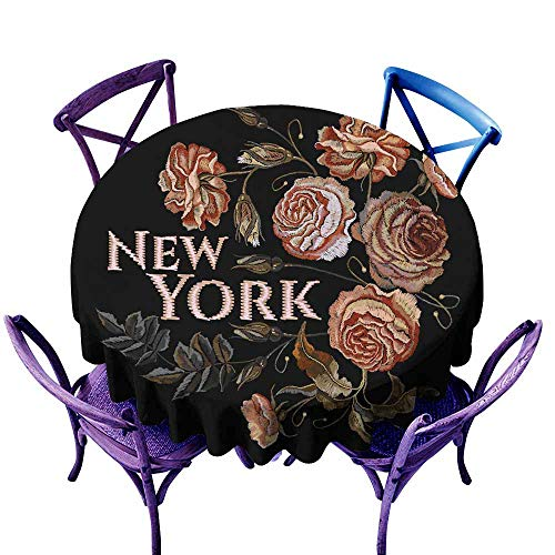 Tablecloth for Kids/Childrens Roses vintage embroidery New York slogan Classical embroidery vinta High-end Durable Creative Home ge buds 47 INCH of roses on black background Design of clothes t-shirt