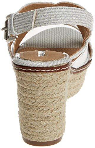 MARIA MARE Gardenia, Sandalias con Plataforma para Mujer Plateado (Stripes Hielo / Espejo Plata)