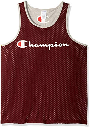 Champion Men's Reversible Mesh Tank, Maroon/Oxford Gray, Medium