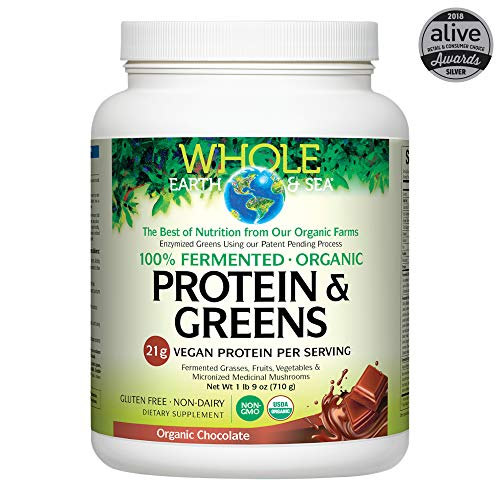 WHOLE EARTH & SEA Organic Fermented Chocolate Protein & Greens, 710 GR