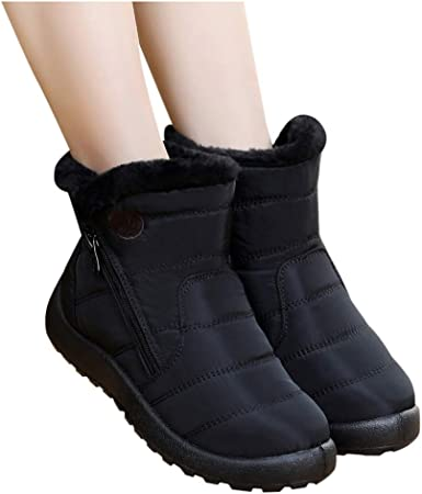 Womens Winter Boots Black Ankle Wide Fit Faux Fur Lined Diamante Buckle Size 6