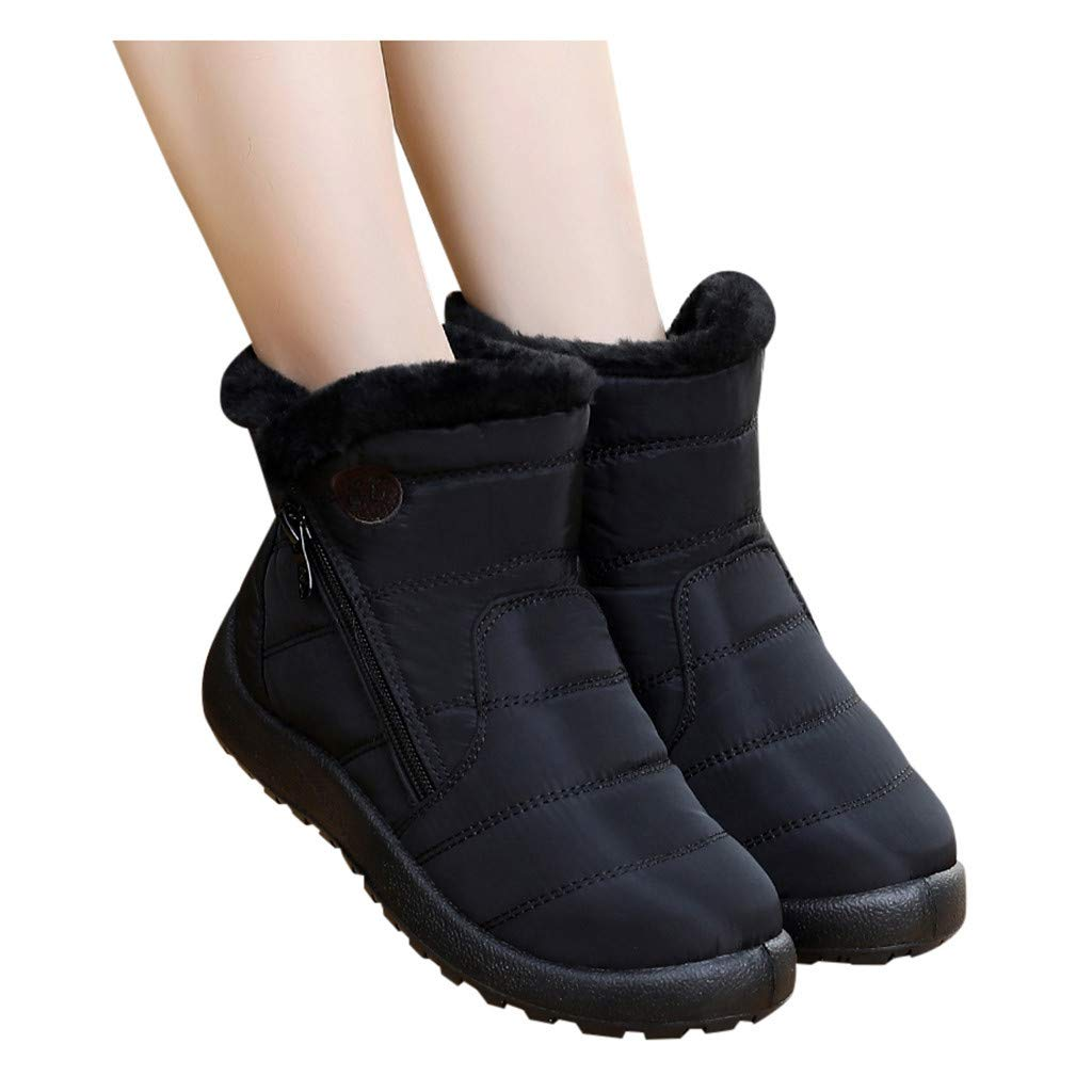 TnaIolral Womens Faux Fur Snow Boots Comfy Flat Bottom Mid Calf Boots Winter Warm Zip Up Fur Lining Waterproof Outdoor Shoes