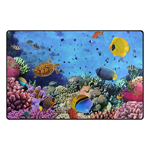 YZGO Coral Colony Red Sea Turtle - Soft Area Rugs Non-Slip Floor Mat Resting Area Doormats
