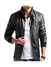 DOOXIUNDI Men's Casual Leisure PU Faux Leather Jacket