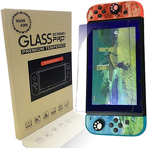 - Screen Tempered Glass Protector for Nintendo Switch Compatible Transparent HD Clear Anti-Blue Explosion-Proof Anti-Scratch WADEKING (2-Pack)