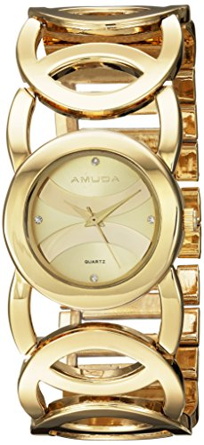 Gold Color Crystal Links Watch (AMUDA Women's Quartz and Alloy Casual Watch, Color:Gold-Toned (Model: AM2032@#3))