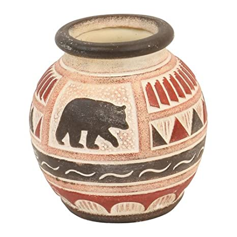Amazon Bear Clay Pottery Vase Etched Primitive Native American
