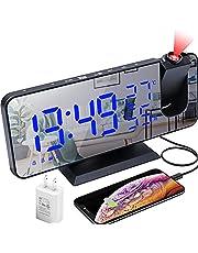 Projection Alarm Clock,LED Digital Alarm Clock with Mirror Surface, USB Charging Port, Snooze,Dual Alarm,FM Radio, Temperature and Humidity, 12/24H Setting, Bedroom Small Desktop Alarm Clock
