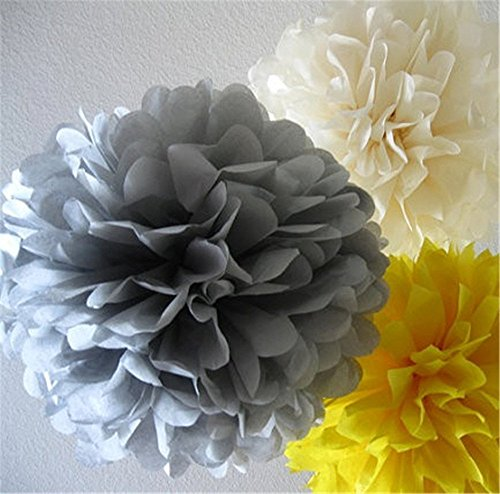 SUNBEAUTY 15cm/20cm 6pcs Mixed Sizes Grey Cream Yellow Mixed