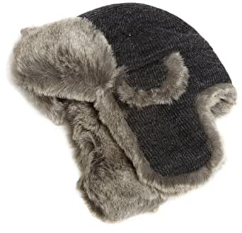 San Diego Hat Company Men's Knit Trapper Hat,Charcoal,One Size