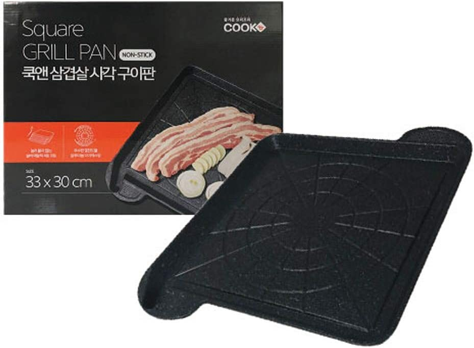 Korean BBQ Grill Pan for Stovetop, Barbecue Portable Hot Plate, in Indoor and Outdoor, 33x30cm (13x12inch)