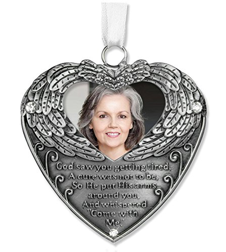 Pewter Angel Photo Frame Ornaments (Heart Shaped Photo Ornament with Angel Wings and Touching Poem Gift Bereavement Sympathy Remembrance Jeweled Filigree Metal)