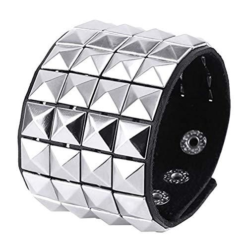 (HZMAN Unisex Black Metal Nickel Pyramid Studs Punk Rock Biker Wide Strap Leather Bracelet)