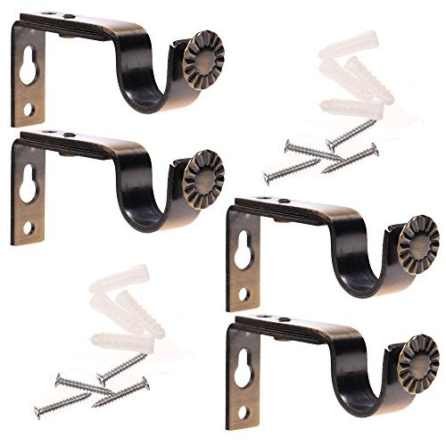 BCP Set of 4 Bronze Color Heavy Duty Curtain Rod Brackets for 3/4 or 5/8 Inch Rod
