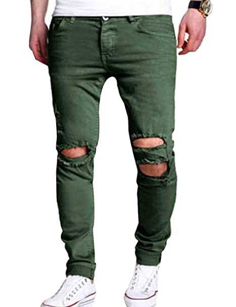 SOMTHRON Hombre Jeans Slim Fit Rasgados Jeans Pitillo Largo Leisure 2 Estilo S-2XL(